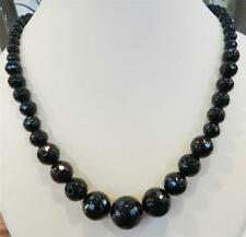 New Faceted 6-14mm Black Agate Round Onyx Gems Beads Necklace 18""
