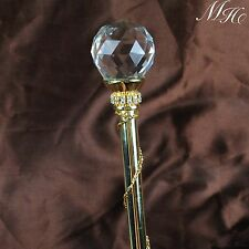 Pageant Scepter Clear Crystal Gold Magic Fairy Wand Party Costume Wedding Bridal
