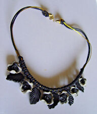 Roses Blck/Grey Celluloid with Silk 14KGP Gold /  black ropes @