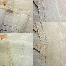 Cotton Eyelet Lace Fabric Stylish Concept 13cm Wide White Ivory Beige 1Yard