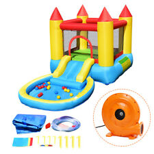 Kids Inflatable Bounce House Slide Castle Pool w/Balls 580W Blower Birthday Gift