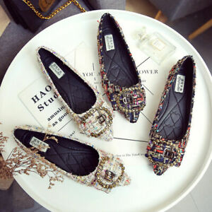 Vintage Plaid Check Soft Mom Shoes Walking Flats Rhinestone Women Shoes Plus Siz
