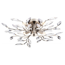 Modern Willow 4 Light Semi Flush Satin Chrome Ceiling Light with Clear Leaves...