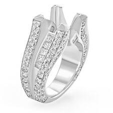 2.25Ct Round Princess Setting VS2 Diamond Engagement Ring 14k White Gold SZ 6.5