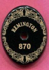 Remington 870 Grip Cap Scroll and Logo engraving