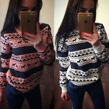 new christmas jumper womens reindeer sweater knitwear top