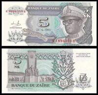 ZAIRE 5 Nouveaux Makuta, 1993, P-48, Africa, UNC World Currency