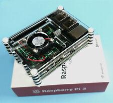 4 IN 1 Raspberry Pi 3 Model B Kit Module Board + Acrylic Case + Fan + Heatsink