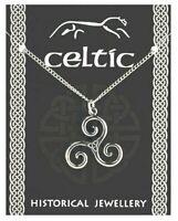 Celtic Triskele Triple Spiral Pendant Pewter Souvenir Gift Necklace Triskelion
