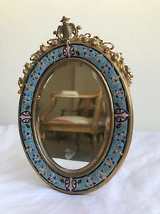 19th Century French Champlevee Enamel and Bronze Mirror