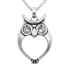 Watchful Owl Necklace Bird Pendant with 2 Swarovski Crystals Jewelry By Controse