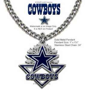 """DALLAS COWBOYS NECKLACE 24"""" STAINLESS STEEL CHAIN - NFL FOOTBALL FREE SHIP  #CA"""