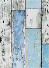 Blue White Wood Fablon Sticky Back Plastic Wooden Effect Plank Scrap
