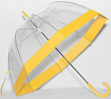 Elite See Through Clear Dome Bubble Umbrella With Yellow Trim & Handle