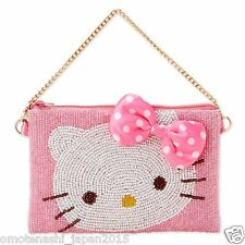 Rare Hello Kitty Beads Pouch Bag Zip Purse Pink Ribbon Chain Wallet Sanrio Japan