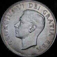 1951 AU++ Canada Silver 50 Cents (Fifty, Half) - KM# 45 - Free Shipping - JG
