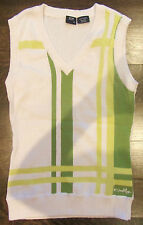 WOMENS OAKLEY VEST PULLOVER BLOUSE TOP V NECK WHITE LIME GREEN YELLOW SIZE XSMAL