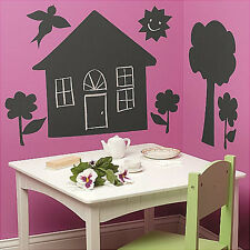 WALLIES DOLLHOUSE CHALKBOARD wall stickers 7 decals playhouse trees flowers sun