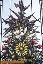Glasmalerei / Bleiverglasung / Blumenstrauß mit Vase / Glasbild / Türfüllung