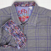 Robert Graham Mens Shirt M Gray Blue Plaid Bubble Effect Flip Cuff Long Sleeve