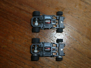 2 TYCO 440x2 narrow chassis, clean lubed, ho car tomy spares parts afx