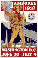 1937 Boy Scouts Jamboree Washington D.C. United States Travel Art Poster Print