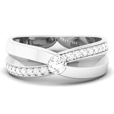 Women's Wedding Band Ring 925 Sterling Silver Statement Swarovski Zirconia