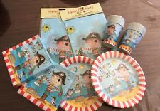 Boys Birthday PIRATE partyware Pack 16 Cups 16 Plates 40 Napkins 2 Tablecover