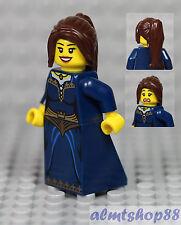 LEGO - Female Minifigure Dark Blue Dress & Brown Ponytail Hair Princess Castle