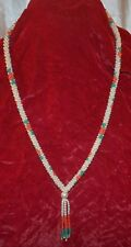 Hand Strung Interwoven Pearl Bead Necklace with Red Flower