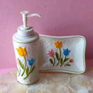 I W RICE Vintage Hand Painted Tulip Soap Trinket Dish Lotion Dispenser Porcelain