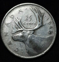 ***Rare  *1947 Coin Error  Canada Silver Quarter Maple Leaf Touches the 7