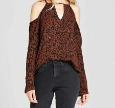NWT Target Mossimo Cold Shoulder Top Small Leopard Cheetah Print