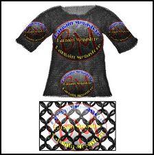 Large Black Chainmail Shirt Chain Mail Haubergeon Half Sleeves Armor Costume