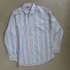 Boden White Blue Pink Green Purple Striped Cotton Shirt Collar Size 16.5 VGC