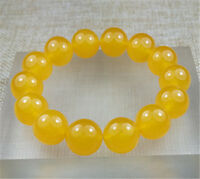 14MM 100% Natural Ice Yellow Jade Beads Bracelet