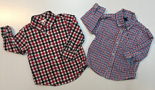 Lot 2 Baby Boy Cotton Long Sleeve Tommy Gymboree Plaid Shirts 18-24 Months