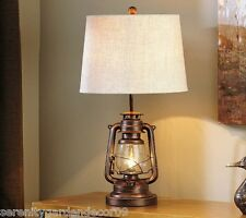 """28"""" Bronzed  Iron Lantern Design Table Lamp with Cream Polyester Lamp Shade"""