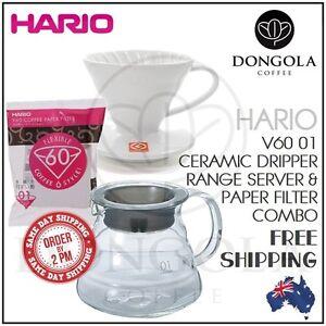 HARIO V60 01 Ceramic Pour Over Coffee Dripper, Range Server, Drip Filter Combo