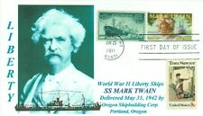 MARK TWAIN Liberty Ship Named for Missouri Author Blue Portrait First Day PM