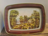"Vintage Currier and Ives ""A Villa On The Hudson ""Metal Serving Tray 15 x 11 in"