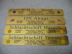 Namensschild mit Daten für Modellständer  -  kaiserl. japan. Marine  nach Wahl