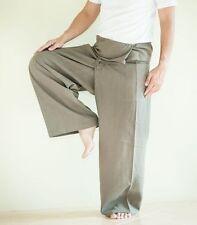 Organic Cotton Fisherman Pants Yoga Massage Unisex Trousers Plain Greenish Grey
