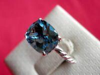 David Yurman Color Classics Ring with Bright Blue Topaz Size 7