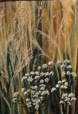 "Original Oil Painting By Artist - White Flowers And Wheat - 5""X7"" - $45.00"