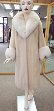 "Natural Tourmaline Letout Mink 44"" Coat with Beige Fox Trim; size 8-10"
