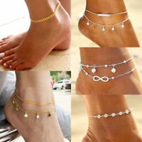 1pcs Womens Ankle Bracelet Silver Gold Plated Anklet Foot Chain Beach Beads