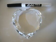 LOVE HEARTS???  Crystal Faceted Heart Paperweight COLLECTIBLE RARE Big & Weighty
