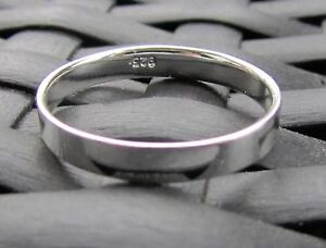 PLAIN BAND RING STERLING SILVER  4 mm WEDDING  CHOOSE A SIZE FREE GIFT BOX