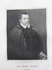 1823 datato antico stampa ~ Sir Thomas bodley